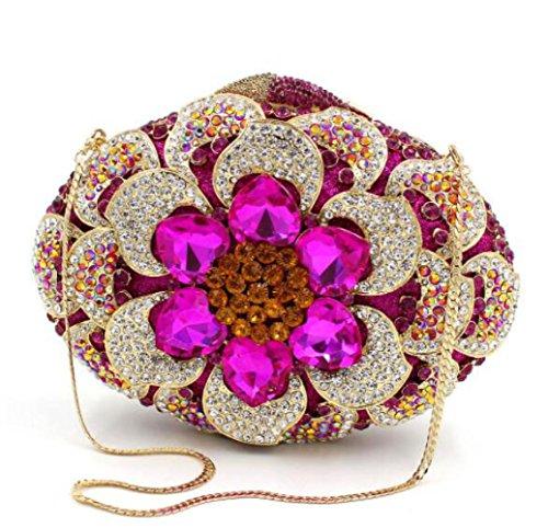 Imitacin Bolsas Diamantes Rosered Lujo Seoras Bolsos Cristal Embrague De Bolsas Diamantes Hueco De De WLFHM Noche Metal De q47AgwxI