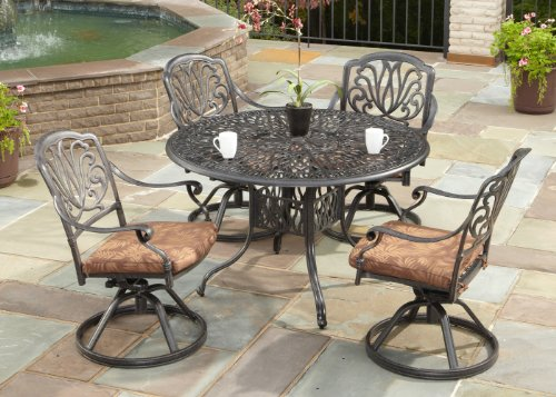 Floral Blossom Charcoal 5-Piece Dining Set with 4 Swivel Chairs by Home Styles