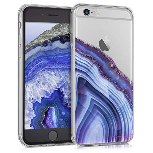 - kwmobile Case for Apple iPhone 6 / 6S - Clear TPU Soft Phone Cover - Agate Stone Design, Blue/Dark Blue/Transparent