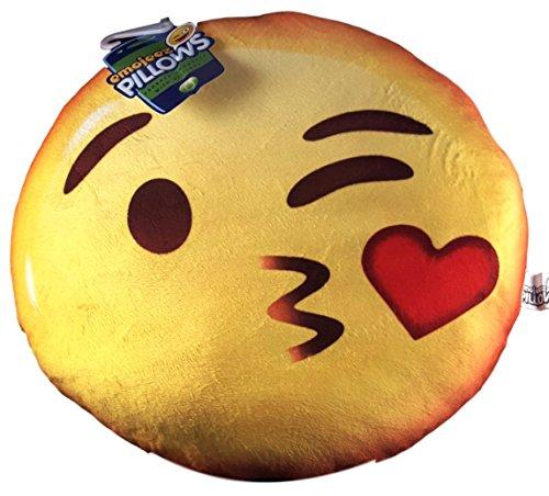 (Soft Plush Emoticons Emoji Throw Pillow (Kissy)