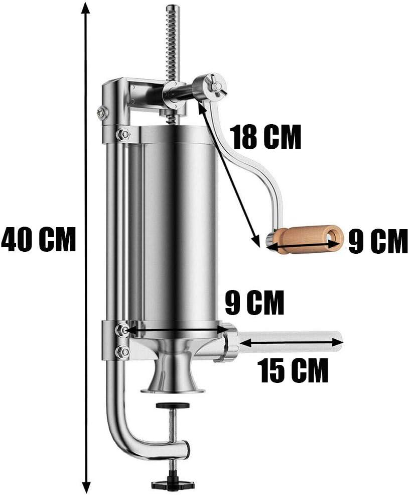 Insaccatrice per Salsiccia Manuale con Base a Ventosa e 4 Tubi di Ripieno Capacit/à 2.5LB JasCherry Verticale Macchina per Salsicce in Acciaio Inossidabile