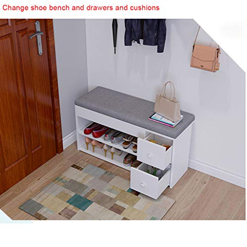 Mobile Vanity Storage Bench - m·kvfa Modern 2-Tier Shoes Bench Entryway Storage Shoe Rack Storage Stool with Two Drawers Sturdy Shoe Rack Bench Change Shoe Bench for Hallway Bathroom Living Room