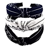 STHUAHE 3pcs Handmade Cloth Art Cross Knot Broadside Comfortable Hair Hoop Hairband Headb