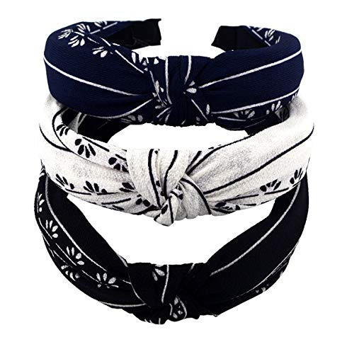 STHUAHE 3pcs Handmade Cloth Art Cross Knot Broadside Comfortable Hair Hoop Hairband Headband Headwear Hair Accessories by Womens (3 Color)