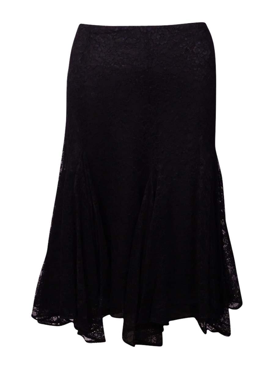 RALPH LAUREN Lauren Women's Flared Lace Skirt (8, Black)