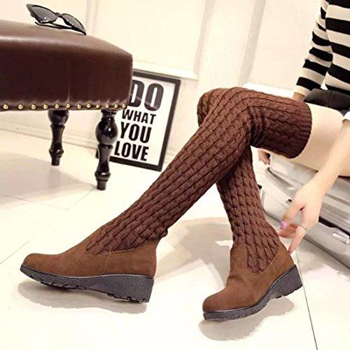 Sikye Femmes Au-dessus Du Genou Hiver Tricoter Med Wedges Bottes Extensibles Chaussures Front
