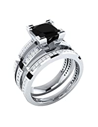 Dream Jewels Princess Cut Black Diamond STERLING SILVER 925 Alloy Rhodium Plated Engagement Wedding Bridal Ring Sets For Women