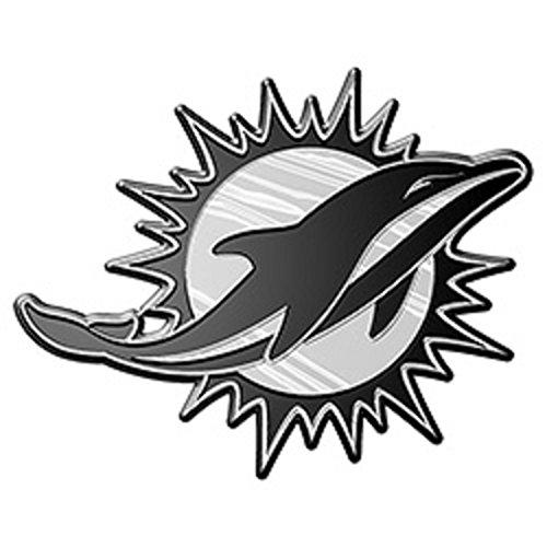 e 3D for Auto Car Truck Emblem Decal Sticker Football Licensed Team Logo (Miami Dolphins Chrome Auto)