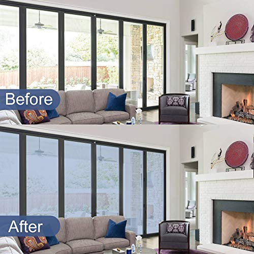 RABBITGOO One Way Window Film Anti UV Static Cling Window Film Removable Decorative Heat Control Privacy Glass Tint Home Office Windows(17.4'' x 78.7'',Sliver) by RABBITGOO (Image #8)