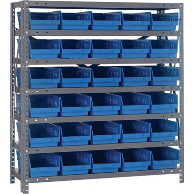 Quantum Storage Steel Shelving System with 30 Bins - 36in.W