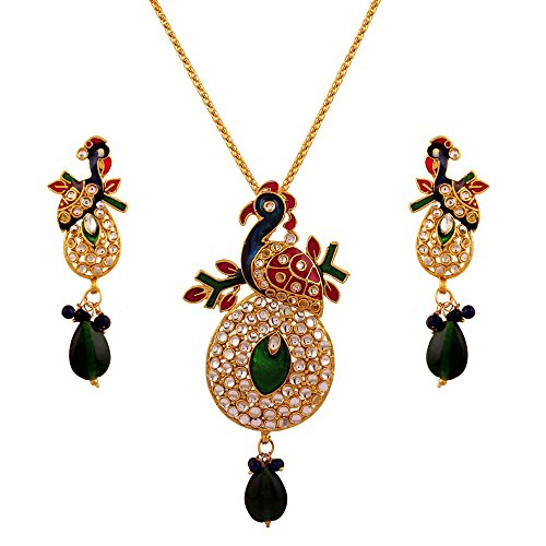 Variation Pink & Green Kundan Peacock Pendant Set For Women – VD14158