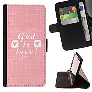 For Sony Xperia M5 God Is Love Jesus Christ Christian White Style PU Leather Case Wallet Flip Stand Flap Closure Cover