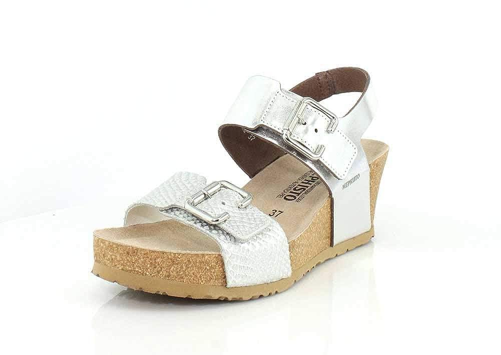 Nickel Star White Cuba Mephisto Womens Lissandra Platform Dress Sandal