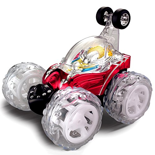 Lunar Vehicle - Large RC Rolling Stunt Car Turbo Twister Radio Control Spin Truck with Color flash & Music switch (Color may vary) by Poco Divo