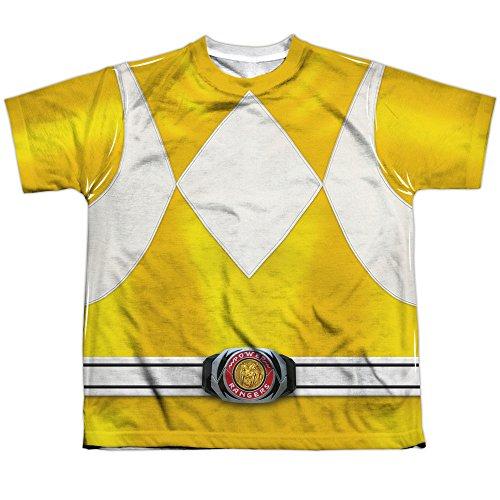 [Power Rangers Childrens Live Action TV Series Yellow Costume Big Boys FrontPrint] (Yellow Power Ranger Costumes Child)