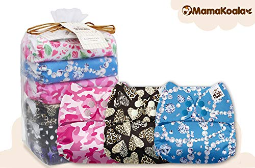 Mama Koala One Size Baby Washable Reusable Pocket Cloth Diapers, 6 Pack with 6 One Size Microfiber Inserts (Tiny Love)