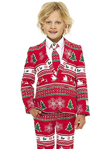 (OppoSuits Christmas Suits for Boys in Different Prints Ugly Xmas Sweater Costumes Include Jacket Pants & Tie, Winter Wonderland, Size)