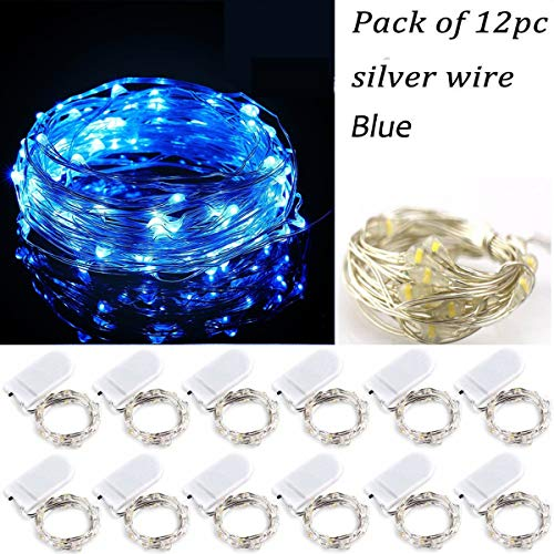 12PCS Battery Operated Blue Lights 20 Micro Fairy String LEDs on Silver Wire,6.5 Ft (2m) for Graduation Party Favors DIY Rustic Wedding Home Outdoor Indoor Centerpiece or Table Decorations -