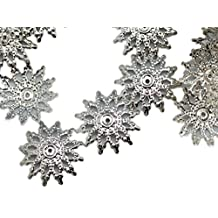 18x3mm Silver Metal Snowflake Bead Cap (50 Piece)