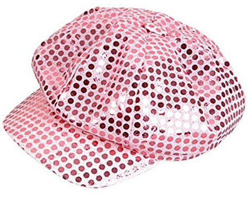 Funky Retro Pink Costume Sequin Newsboy Baseball (Sequin Newsboy Hat)