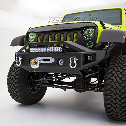 Restyling Factory - Black Textured Rock Crawler Stubby Front Bumper with OE Fog Light Hole, Built-In 21