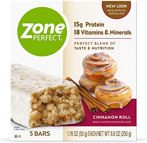 Zone Perfect Nutrition Bar, Cinnamon Roll, 5 Count Pack of 3