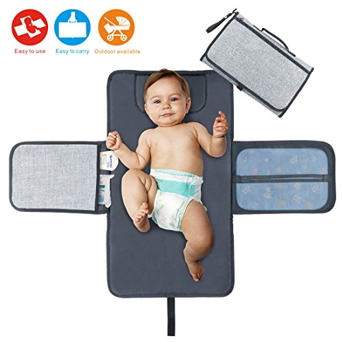 Diaper Changing Pad Baby Portable Changing Station Diaper Change Mat with Head Cushion Lightweight Travel Home Diaper Changer Mat with Pockets – Waterproof and Foldable by Idefair (TM)