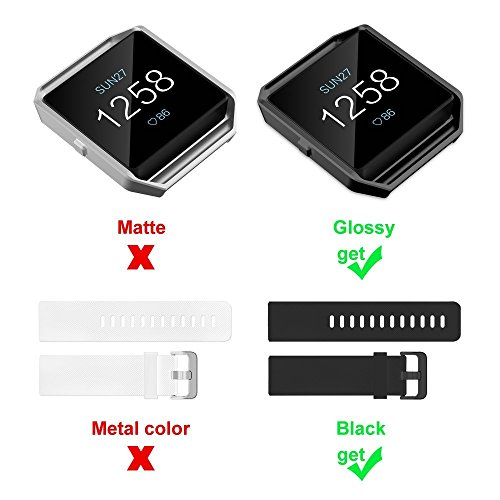 UMTELE For Fitbit Blaze Bands, Silicone Replacement Strap with Stainless Steel Frame for Fitbit Blaze