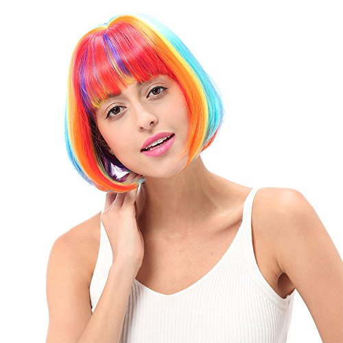 STfantasy Wigs for Women Short Hair Cosplay Synthetic Bob Colorful Rainbow Wig 12