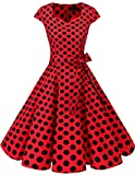 DRESSTELLS Retro 1950s Cocktail Dresses Vintage Swing Dress with Cap-Sleeves Red Black Dot 3XL
