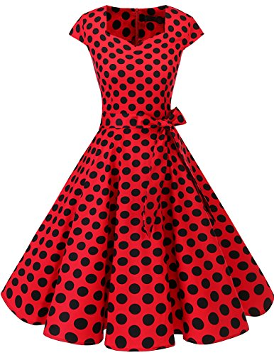 DRESSTELLS Retro 1950s Cocktail Dresses Vintage Swing Dress with Cap-Sleeves Red Black Dot M