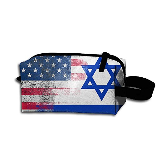 Fashion Israeli (Israeli American Flag Fashion Multifunction Portable Mini Sewing Kit Bag Cosmetic Bag For Home Office Travel Camping Sport Gym Outdoor)