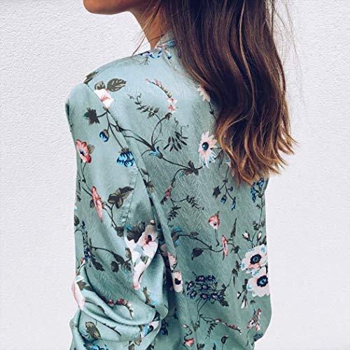 Autunno 01 Minetom Verde Colorato E Stampato Alla Giacca Corto Giacche Maniche Fiore Primavera Moda Donne Cappotto Lunghe Jacket qwpawtxF