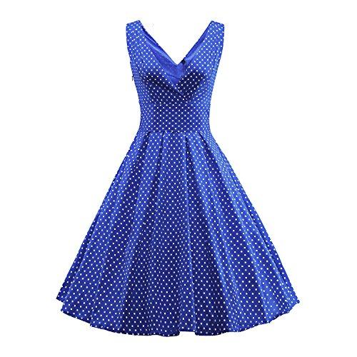 Padgene Vestidos para Mujer Vintage Elegantes Sin Manga Mujer Noche Fiesta Azul Cielo