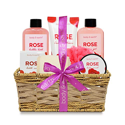 (Spa Gift Basket Set for Women - Relaxing Home Spa Kit with Rose Scent Handmade Basket Wrapped for Birthday, Anniversary, Christmas)