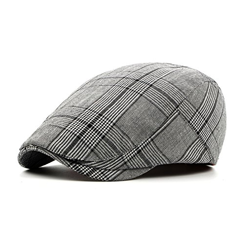 ArmoFit Cotton Flat Newsboy Cap Gatsby Ivy Scally Hat Casual Retro Spring Summer Fall for Men (Plaid Overcoat)