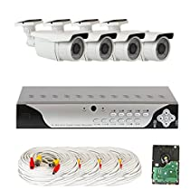 GW Security VD4CH4C50WD 4 CH 960H DVR Surveillance Camera System with 4 x 700 TVL 2.8-12 mm Varifocal, 196-Feet IR Day/Night Outdoor Security Camera (Grey)
