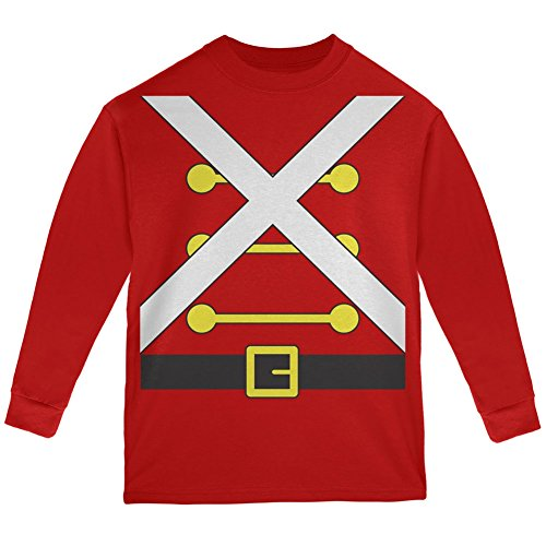 Christmas Toy Soldier Costume Red Youth Long Sleeve T-Shirt - Youth (Nerds Couple Costume)