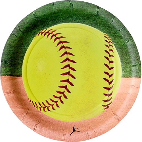Softball Party Paper 7 Inch Plates (8  Pack) Girls Fastpitch Softball, Extra Innings Collection by Havercamp