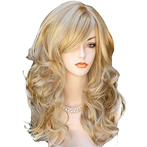 AneShe Wig Women's 2 Tones Blonde Mixed Big Wave Synthetic Hair Long Wavy Curly Hair Wigs (Golden/Blonde) -