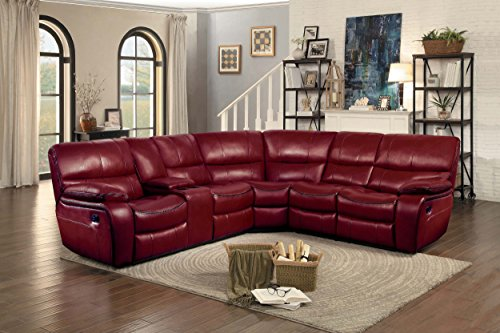 Homelegance Pecos 105 x 95 Manual Reclining Sectional Sofa, Red