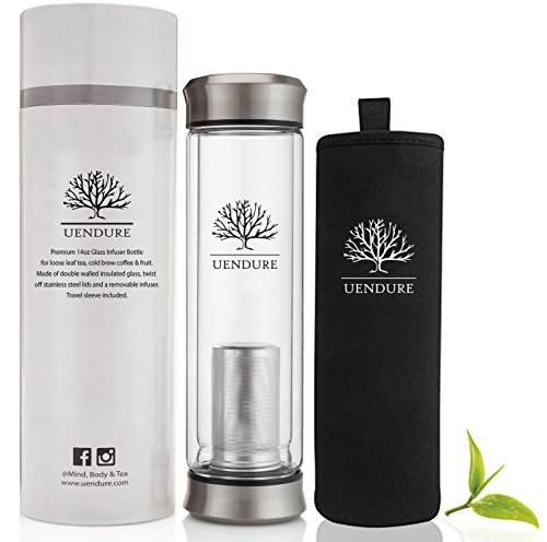 UEndure Tea Infuser & Cold Brew Coffee Maker – New & Improved V2 Design - Loose Leaf Tea Cup with Strainer Filter - Travel Mug with Insulating Sleeve - 14oz Teapot Cozie for One