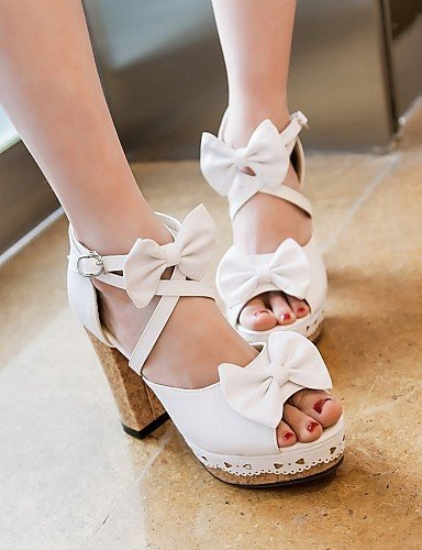 ShangYi Womens Shoes Leatherette Chunky Heel Peep Toe Sandals Wedding / Office & Career / Party White