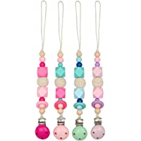 Luchild Dummy Clips Baby Pacifier Holder Made from Food Grade Silicone and Natural Wood Pacifier Clips Fit All Dummies & Soothers (4-Pack)