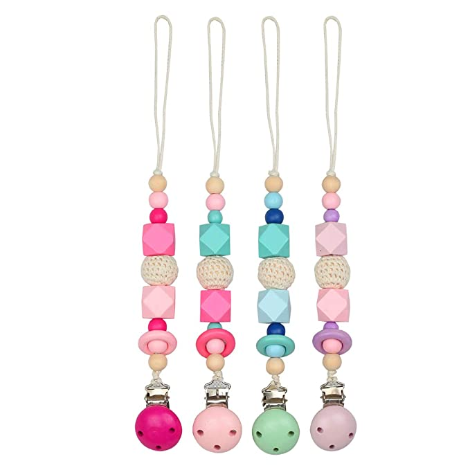 Luchild Cadena Chupete Bebe Madera Clip Chupete Cinta Chupete para Chicos y Chicas (2-Pack)