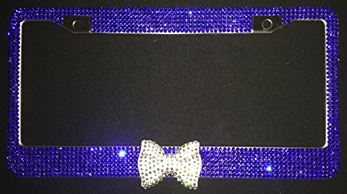 Navy Blue Sapphire Bling Rhinestone License Plate Frame Cover Clear-Diamond Bow, Woman Girl Car Accessory (Navy Blue/Clear)