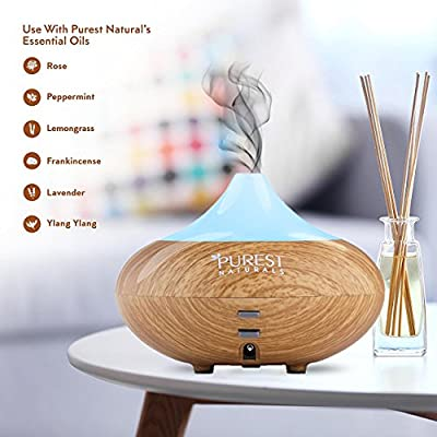 Purest Naturals Essential Oil Diffuser Best Cool Mist Electric Aroma Spa Ultrasonic Aromatherapy Humidifier Auto Shut Off & 7 Color LED Lights