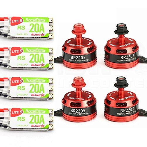 4pcs RacerStar 2205 2300kV 2-4S Motor Set with 4pcs RS20A 2-4S ESC Set DShot600 Multishot