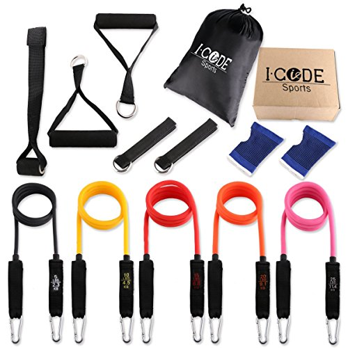 iCode Sports Resistance Band Set with 5 Best Quality Bands ,Door Anchor, Handles, Ankle Strap, and Wrist Support Perfect for Fitness Gym Exercise Training (12 pieces set)