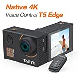 "ThiEYE T5 Edge Native 4K Action Camera Wifi Waterproof Sport Video Camera 14MP Ultra-HD 2"" IPS Screen with EIS, APP & Voice Control with Remote Control, 170 Wide Angle, Battery and Full Accessories"